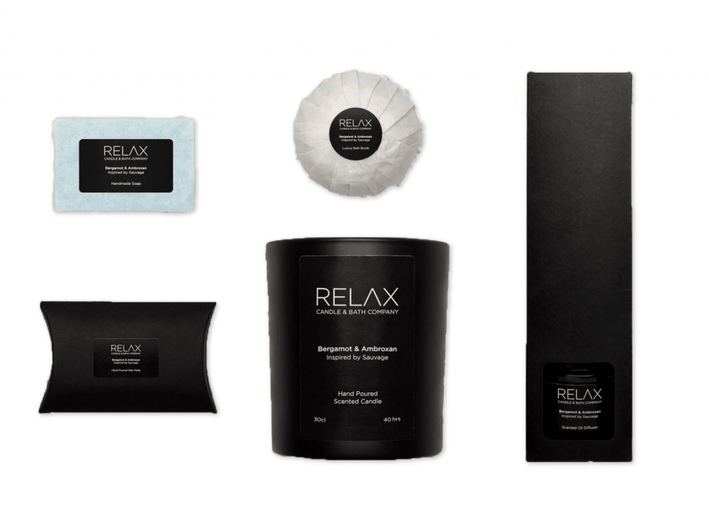set of five relaxing products on transparent background