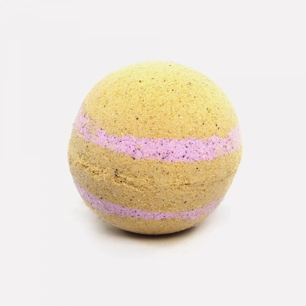 Baby pink with pale orange speckled bath bomb