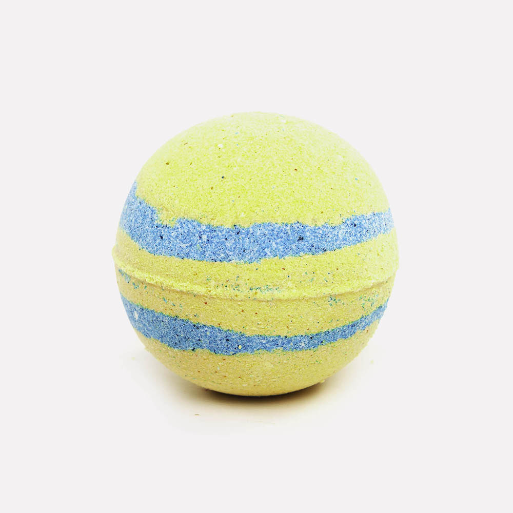 Vibrant blue with pale yellow circular bath bomb