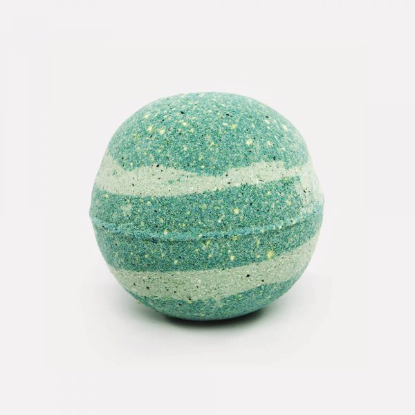 Turquoise white speckled swirl bath bomb