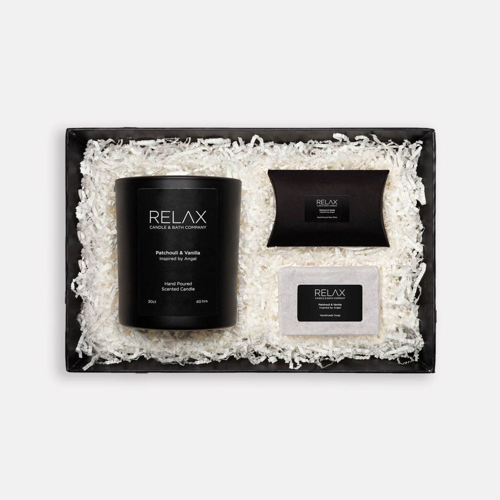 Relax candle and bath Patchouli and Vanilla set