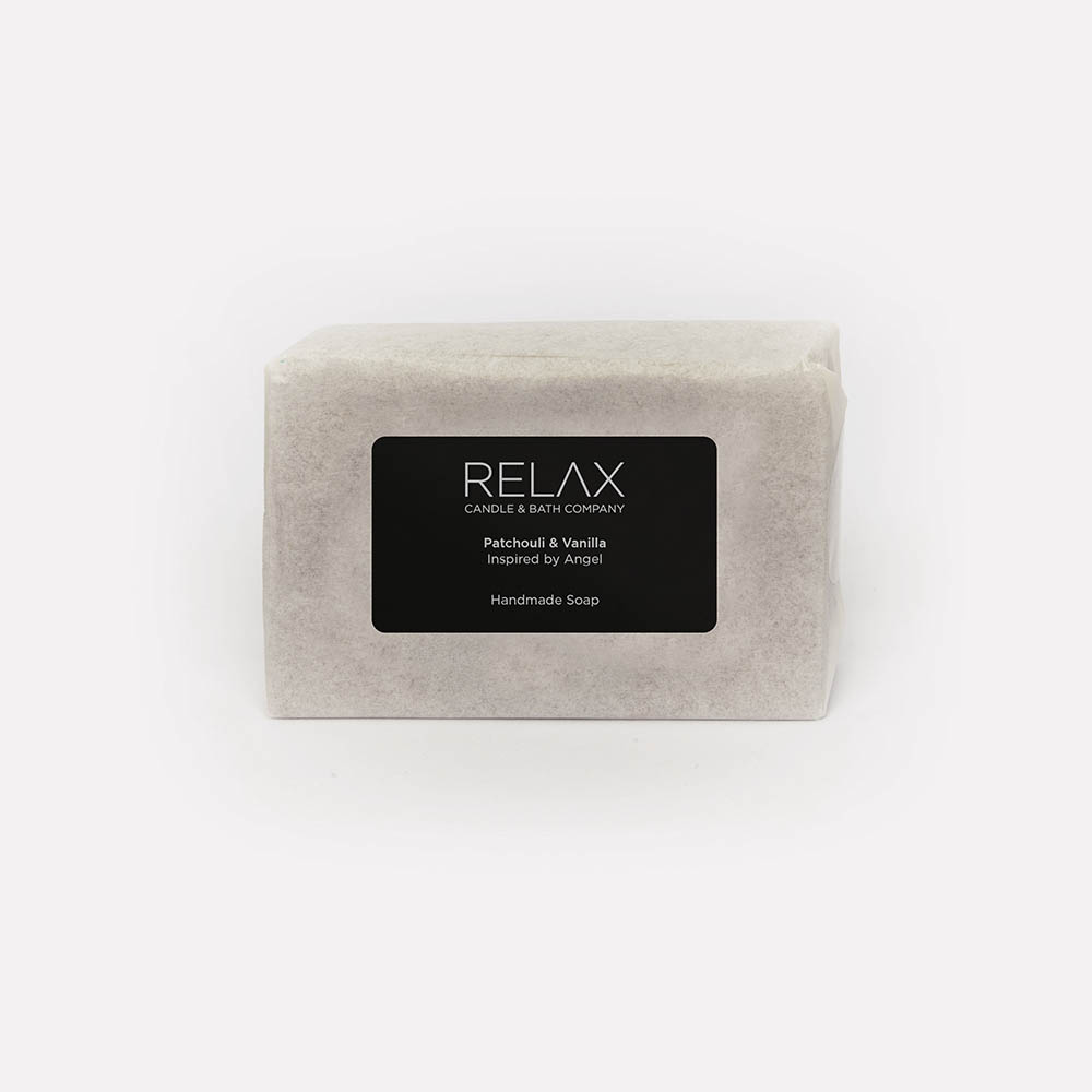 Relax candle and bath patchouli and vanilla black labelled soap