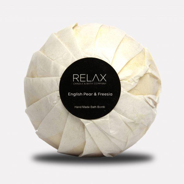Handmade relaxing english pear and freesia bath bomb