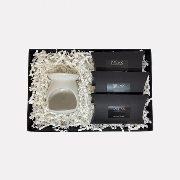 Three wax melt set and oil burner wrapped gift set