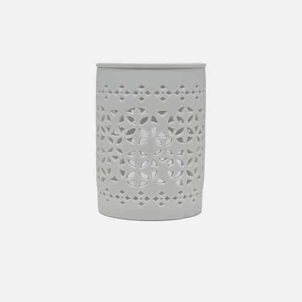 White matte cut out oil burner on relax candle and bath